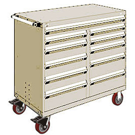 "Rousseau Metal 11 Drawer Mobile Multi-Drawer Cabinet - 48""Wx24""Dx45-1/2""H Beige"