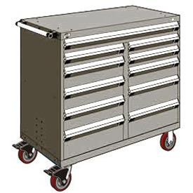 "Rousseau Metal 11 Drawer Mobile Multi-Drawer Cabinet - 48""Wx24""Dx45-1/2""H Light Gray"