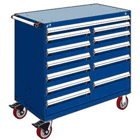 "Rousseau Metal 12 Drawer Mobile Multi-Drawer Cabinet - 48""Wx24""Dx45-1/2""H Avalanche Blue"