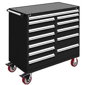 "Rousseau Metal 12 Drawer Mobile Multi-Drawer Cabinet - 48""Wx24""Dx45-1/2""H Black"