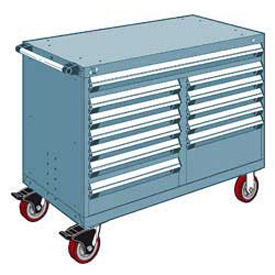 "Rousseau Metal 12 Drawer Mobile Multi-Drawer Cabinet - 48""Wx27""Dx37-1/2""H Everest Blue"