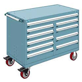"Rousseau Metal 10 Drawer Mobile Multi-Drawer Cabinet - 48""Wx27""Dx37-1/2""H Everest Blue"