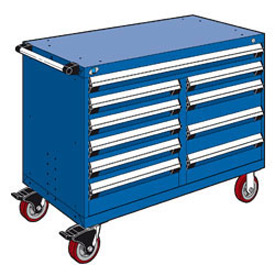 "Rousseau Metal 10 Drawer Mobile Multi-Drawer Cabinet - 48""Wx27""Dx37-1/2""H Avalanche Blue"