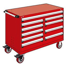 "Rousseau Metal 10 Drawer Mobile Multi-Drawer Cabinet - 48""Wx27""Dx37-1/2""H Red"