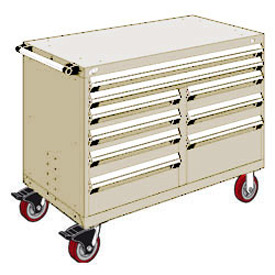 """Rousseau Metal 9 Drawer Mobile Multi-Drawer Cabinet - 48""""Wx27""""Dx37-1/2""""H Beige"""