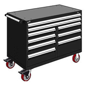 "Rousseau Metal 9 Drawer Mobile Multi-Drawer Cabinet - 48""Wx27""Dx37-1/2""H Black"