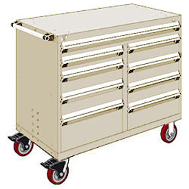 "Rousseau Metal 9 Drawer Mobile Multi-Drawer Cabinet - 48""Wx27""Dx41-1/2""H Beige"