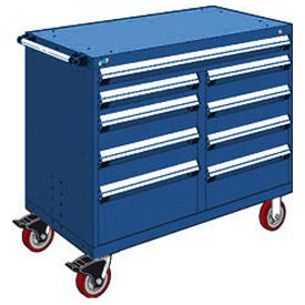 "Rousseau Metal 9 Drawer Mobile Multi-Drawer Cabinet - 48""Wx27""Dx41-1/2""H Avalanche Blue"