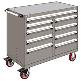 "Rousseau Metal 9 Drawer Mobile Multi-Drawer Cabinet - 48""Wx27""Dx41-1/2""H Light Gray"