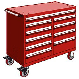 "Rousseau Metal 10 Drawer Mobile Multi-Drawer Cabinet - 48""Wx27""Dx41-1/2""H Red"