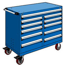 "Rousseau Metal 11 Drawer Mobile Multi-Drawer Cabinet - 48""Wx27""Dx41-1/2""H Avalanche Blue"