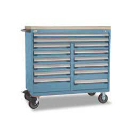"Rousseau Metal 14 Drawer Mobile Multi-Drawer Cabinet - 48""Wx27""Dx45-1/2""H Everest Blue"