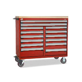 "Rousseau Metal 14 Drawer Mobile Multi-Drawer Cabinet - 48""Wx27""Dx45-1/2""H Red"