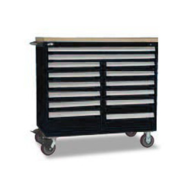 "Rousseau Metal 14 Drawer Mobile Multi-Drawer Cabinet - 48""Wx27""Dx45-1/2""H Black"