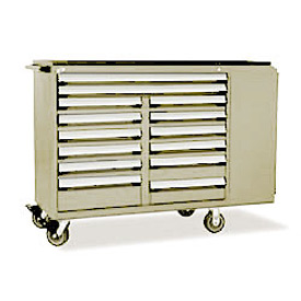 "Rousseau Metal 14 Drawer Mobile Multi-Drawer Cabinet - 62""Wx27""Dx45-1/2""H Beige"