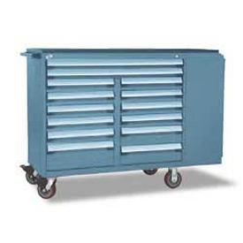 "Rousseau Metal 14 Drawer Mobile Multi-Drawer Cabinet - 62""Wx27""Dx45-1/2""H Everest Blue"