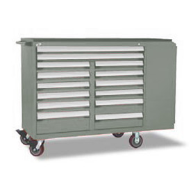 "Rousseau Metal 14 Drawer Mobile Multi-Drawer Cabinet - 62""Wx27""Dx45-1/2""H Light Gray"