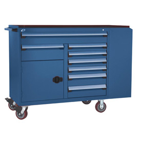"Rousseau Metal 8 Drawer Mobile Multi-Drawer Cabinet - 62""Wx27""Dx45-1/2""H Avalanche Blue"