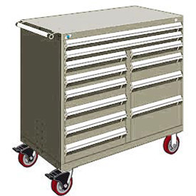 "Rousseau Metal 12 Drawer Mobile Multi-Drawer Cabinet - 48""Wx27""Dx45-1/2""H Light Gray"