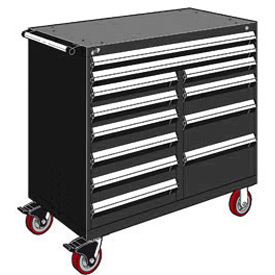 "Rousseau Metal 12 Drawer Mobile Multi-Drawer Cabinet - 48""Wx27""Dx45-1/2""H Black"