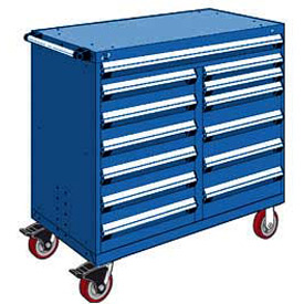 "Rousseau Metal 13 Drawer Mobile Multi-Drawer Cabinet - 48""Wx27""Dx45-1/2""H Avalanche Blue"
