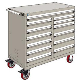 "Rousseau Metal 13 Drawer Mobile Multi-Drawer Cabinet - 48""Wx27""Dx45-1/2""H Light Gray"