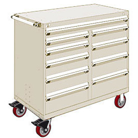 "Rousseau Metal 10 Drawer Mobile Multi-Drawer Cabinet - 48""Wx27""Dx45-1/2""H Beige"