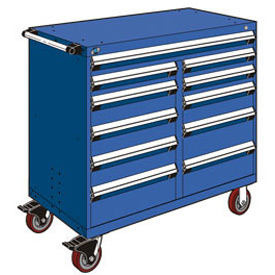 "Rousseau Metal 11 Drawer Mobile Multi-Drawer Cabinet - 48""Wx27""Dx45-1/2""H Avalanche Blue"