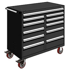 "Rousseau Metal 11 Drawer Mobile Multi-Drawer Cabinet - 48""Wx27""Dx45-1/2""H Black"