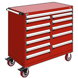 "Rousseau Metal 12 Drawer Mobile Multi-Drawer Cabinet - 48""Wx27""Dx45-1/2""H Red"
