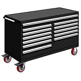 "Rousseau Metal 12 Drawer Mobile Multi-Drawer Cabinet - 60""Wx24""Dx37-1/2""H Black"