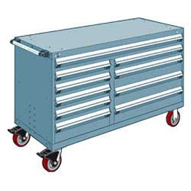 "Rousseau Metal 10 Drawer Mobile Multi-Drawer Cabinet - 60""Wx24""Dx37-1/2""H Everest Blue"