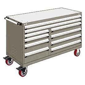 "Rousseau Metal 10 Drawer Mobile Multi-Drawer Cabinet - 60""Wx24""Dx37-1/2""H Light Gray"