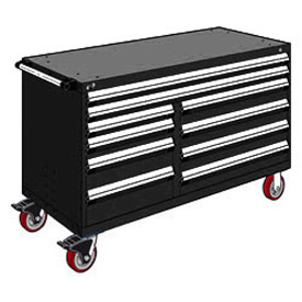 "Rousseau Metal 10 Drawer Mobile Multi-Drawer Cabinet - 60""Wx24""Dx37-1/2""H Black"