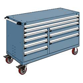 """Rousseau Metal 9 Drawer Mobile Multi-Drawer Cabinet - 60""""Wx24""""Dx37-1/2""""H Everest Blue"""