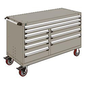 "Rousseau Metal 9 Drawer Mobile Multi-Drawer Cabinet - 60""Wx24""Dx37-1/2""H Light Gray"