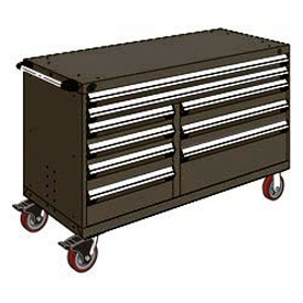 "Rousseau Metal 9 Drawer Mobile Multi-Drawer Cabinet - 60""Wx24""Dx37-1/2""H Black"