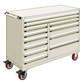 "Rousseau Metal 12 Drawer Mobile Multi-Drawer Cabinet - 60""Wx24""Dx45-1/2""H Beige"