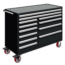 "Rousseau Metal 12 Drawer Mobile Multi-Drawer Cabinet - 60""Wx24""Dx45-1/2""H Black"