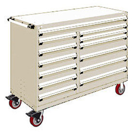 "Rousseau Metal 13 Drawer Mobile Multi-Drawer Cabinet - 60""Wx24""Dx45-1/2""H Beige"