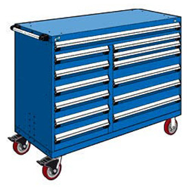 "Rousseau Metal 13 Drawer Mobile Multi-Drawer Cabinet - 60""Wx24""Dx45-1/2""H Avalanche Blue"