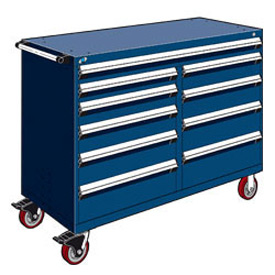 "Rousseau Metal 10 Drawer Mobile Multi-Drawer Cabinet - 60""Wx24""Dx45-1/2""H Avalanche Blue"