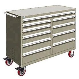 "Rousseau Metal 10 Drawer Mobile Multi-Drawer Cabinet - 60""Wx24""Dx45-1/2""H Light Gray"