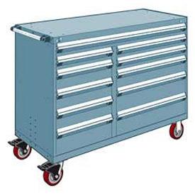 """Rousseau Metal 11 Drawer Mobile Multi-Drawer Cabinet - 60""""Wx24""""Dx45-1/2""""H Everest Blue"""