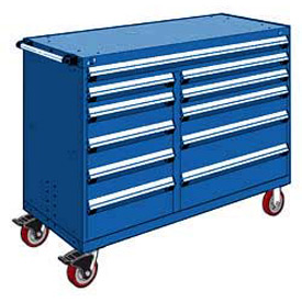 "Rousseau Metal 11 Drawer Mobile Multi-Drawer Cabinet - 60""Wx24""Dx45-1/2""H Avalanche Blue"