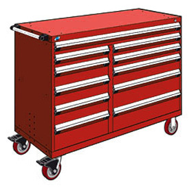 "Rousseau Metal 11 Drawer Mobile Multi-Drawer Cabinet - 60""Wx24""Dx45-1/2""H Red"