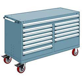 """Rousseau Metal 12 Drawer Mobile Multi-Drawer Cabinet - 60""""Wx27""""Dx37-1/2""""H Everest Blue"""