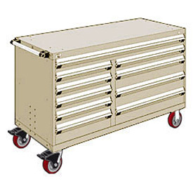 "Rousseau Metal 10 Drawer Mobile Multi-Drawer Cabinet - 60""Wx27""Dx37-1/2""H Beige"