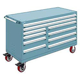 "Rousseau Metal 10 Drawer Mobile Multi-Drawer Cabinet - 60""Wx27""Dx37-1/2""H Everest Blue"