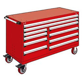 "Rousseau Metal 10 Drawer Mobile Multi-Drawer Cabinet - 60""Wx27""Dx37-1/2""H Red"